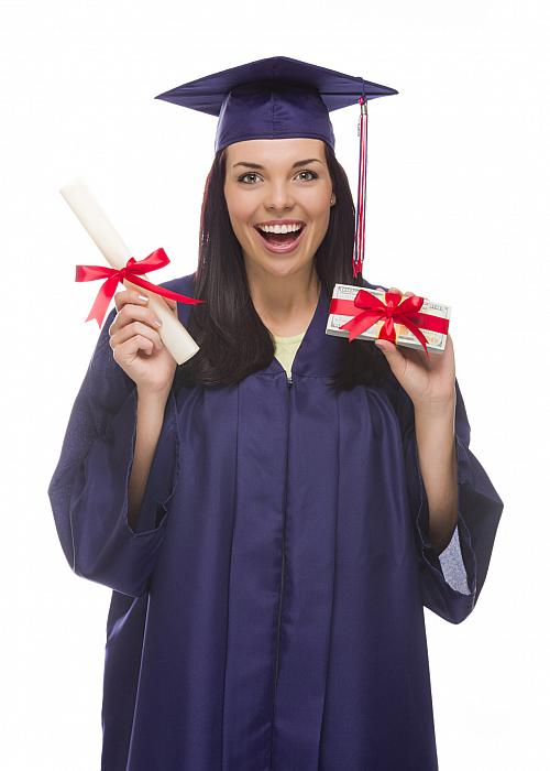 kozzi-25368350-Female Graduate with Diploma and Stack of Gift Wrapped Hundreds-1225x1713