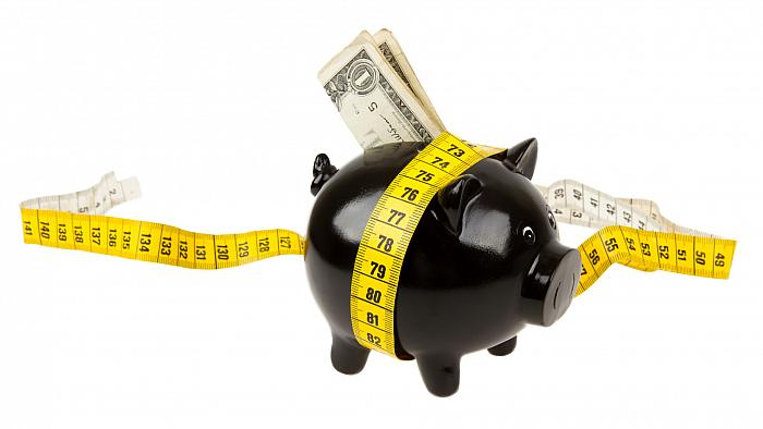 budgeting and saving money in the piggy bank