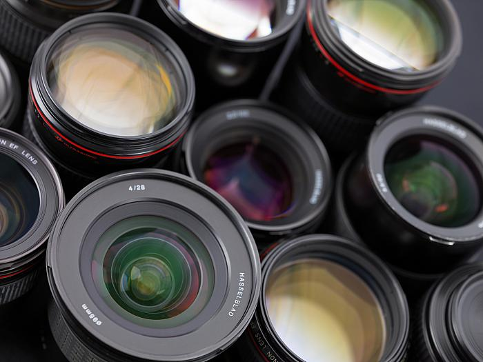 a selection of hasselblad lenses in closeup