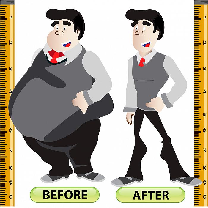 man who has lost a lot of weight, before and after, fat to slim